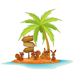 Rabbits and squirrels on island vector image