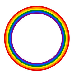 Rainbow pride flag lgbt movement in circle shape vector