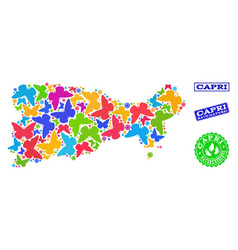 Save nature composition of map of capri island vector