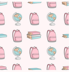 school bag and globe school seamless vector image