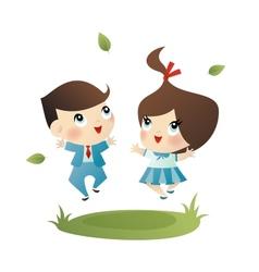 School boy and girl vector