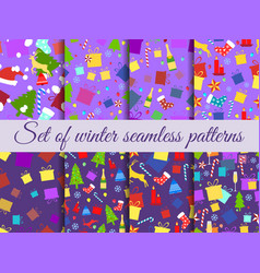 seamless patterns christmas winter pattern with vector image