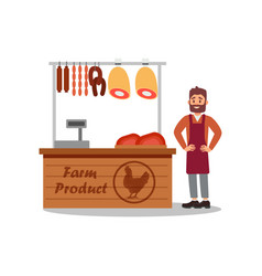 seller standing near counter with fresh meat at vector image