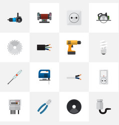 Set of 16 editable electrical flat icons includes vector