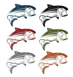 Set of jumping salmon vector