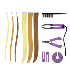 Set of of icons of hair extensions vector
