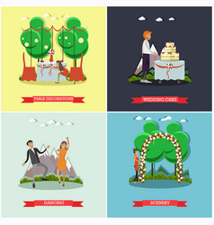 Set wedding posters in flat style vector