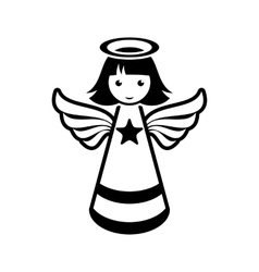 Simple black christmas angel icon vector image