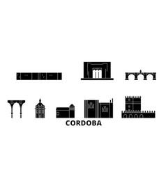 Spain cordoba flat travel skyline set spain vector