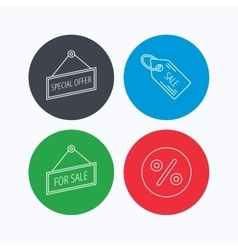 Special offer discounts and sale coupon icons vector image