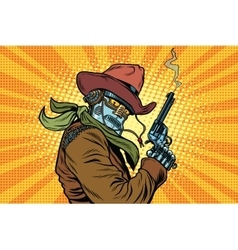 Steampunk robot cowboy with Smoking after firing a vector