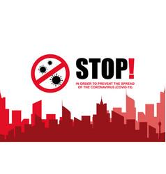 stop coronavirus covid-19 pandemic world lockdown vector image