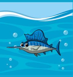 Swordfish swims in the ocean vector