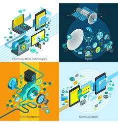 Telecom Isometric 2x2 Design Concept vector