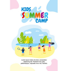 vertical flat banner kids summer camp holidays vector image