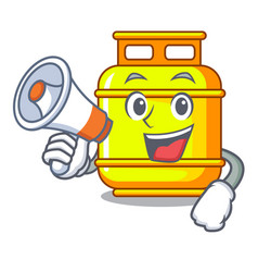 With megaphone flammable gas tank on cartoon the vector
