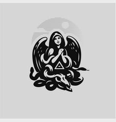 Woman angel in a hood vector