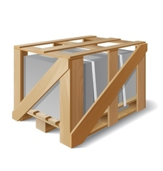Wooden crate with cargo on a pallet vector image