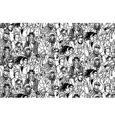 Young people seamless pattern group monochrome vector image