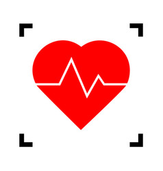 heartbeat sign red icon vector image