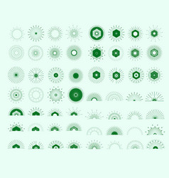 big set of retro sun burst shapes vector image