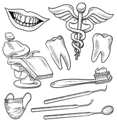 doodle dentist vector image vector image