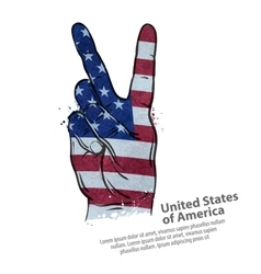 hand gesture of victory flag usa united states vector image