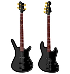 Modern electric bass guitars vector image