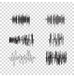 sound waves set on transparent Audio vector image