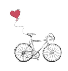 Vintage Valentines with Bicycle and Heart Baloon vector image