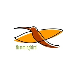 Abstract hummingbird in orange and brown vector image vector image