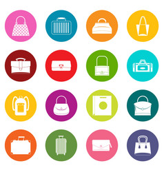bag baggage suitcase icons many colors set vector image vector image