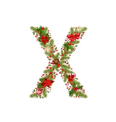 christmas floral tree letter X vector image vector image