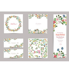 collection of greeting cards with cute flora for vector image vector image