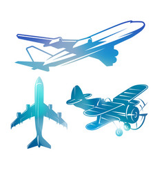 color airplane symbols logotypes aviation vector image vector image