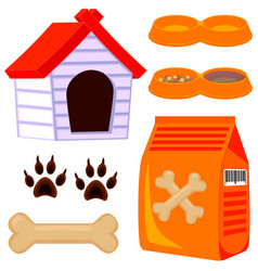 colorful cartoon dog pet care icon set vector image vector image