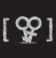 male and female symbol sketch design vector image vector image