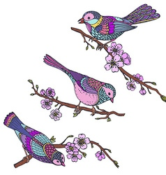Ste of hand drawn ornate birds on sakura branches vector image vector image