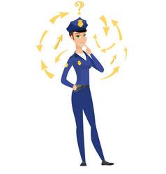 thinking policewoman with question mark vector image vector image