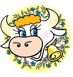a good cow in flowers vector image