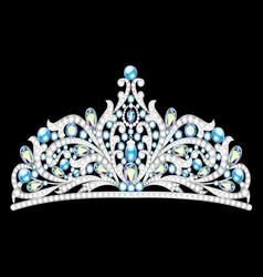 crown tiara women with glittering precious stones vector image