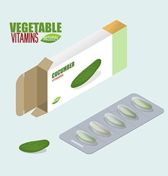 Cucumber pills in pack Vegetarian Vitamins Tablets vector image vector image