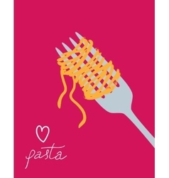 drawn spaghetti on the fork vector image