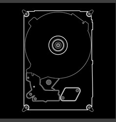 hard drive disk the white path icon vector image