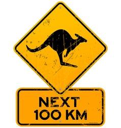 Roadsign Kangaroos Next 100 km vector image
