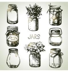 Rustic mason and canning jars hand drawn set vector image