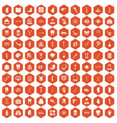 100 medicine icons hexagon orange vector