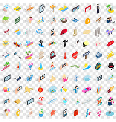 100 party icons set isometric 3d style vector