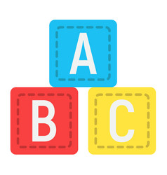 Abc blocks flat icon alphabet cubes and education vector