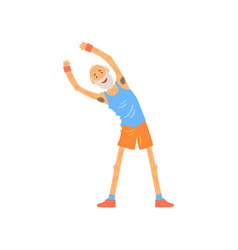 Active old man stretching before gymnastics vector